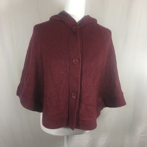 GUESS BURGUNDY SWEATER PONCHO